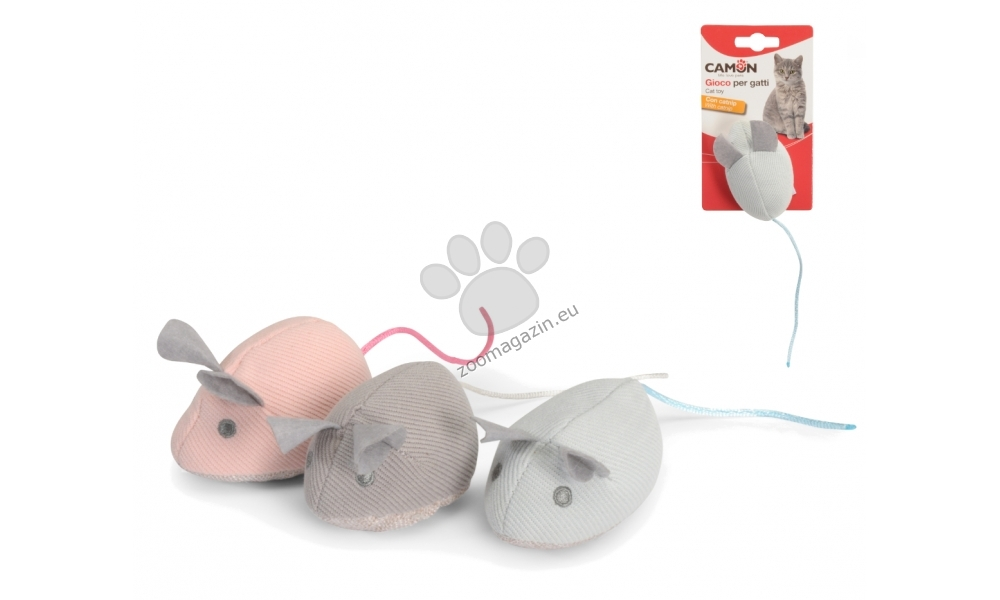 Camon Fabric mouse with catnip - котешка играчка с билка за ривличане и игра 8 см. / розова, сива, кафява /