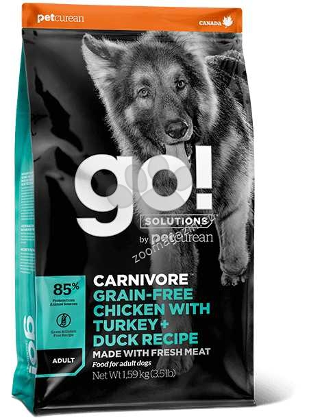 Go Solutions Carnivore Grain Free Chicken, Turkey + Duck Adult Recipe - с пиле, пуйка и патица 10 кг.