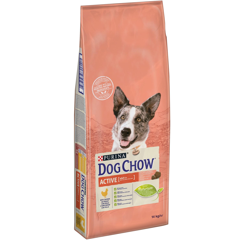 Dog Chow Аctive - пълноценна храна с пилешко месо, за активни кучета, живеещи на открито, бременни и кърмещи на възраст над 12 месеца 14 кг.