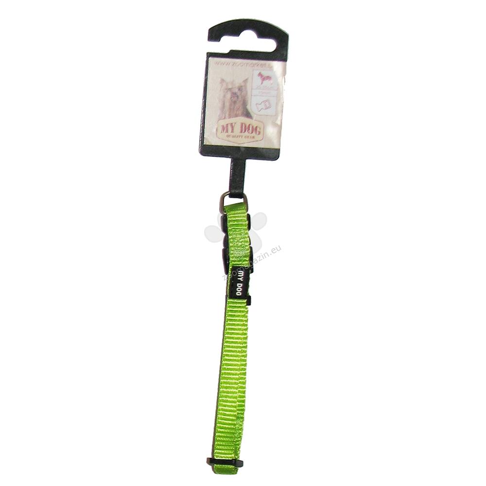 My Dog - нашийник със широчина 10 мм., за кучета с обиколка на врата 20 - 35 см. / неон зелен /