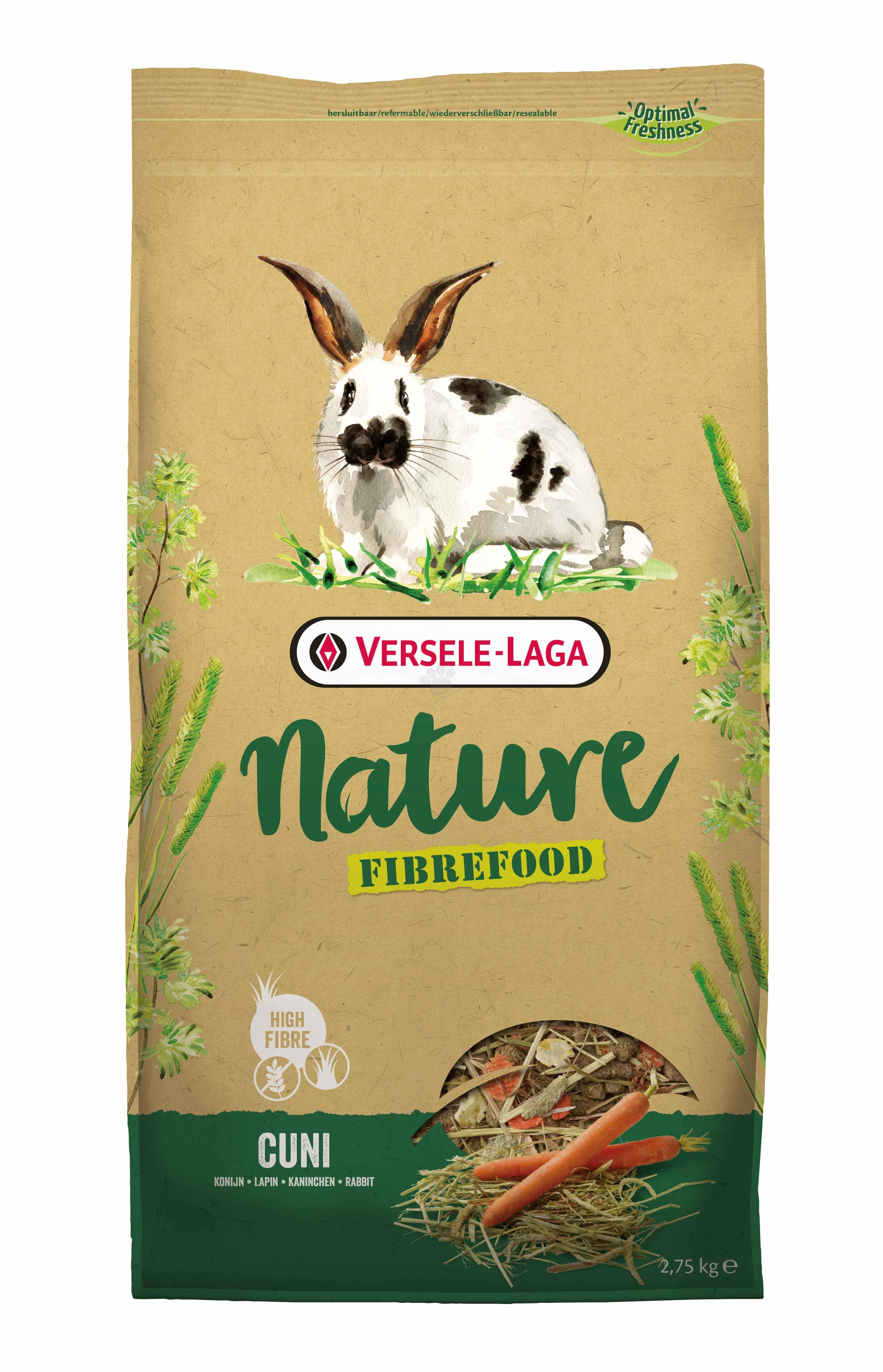 Versele Laga - Fibrefood Cuni - пълноценна храна за мини зайчета, възрастни, капризни и живеещи у дома 2.75 кг.