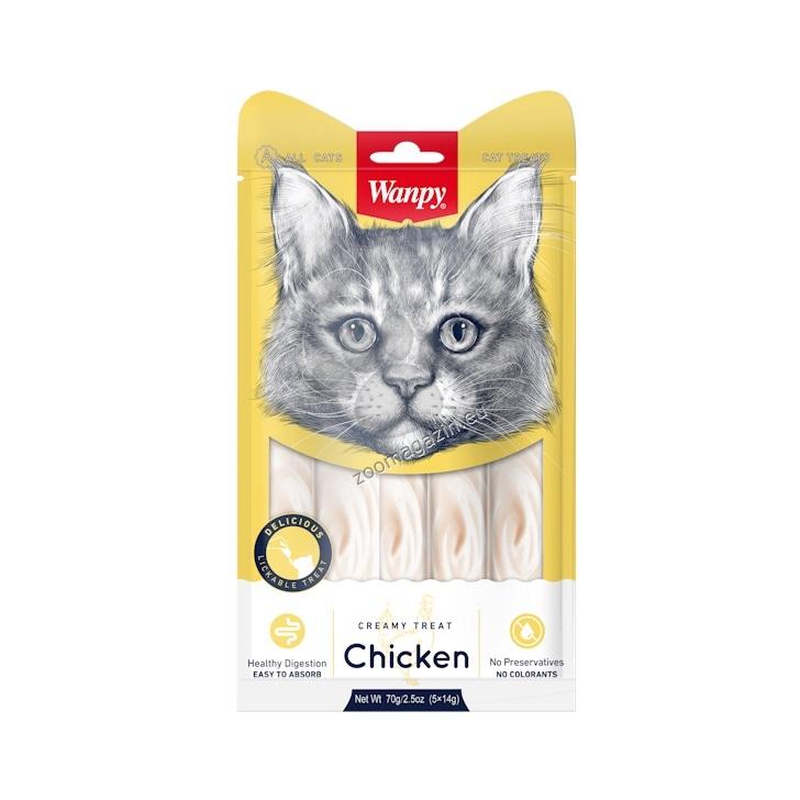 Wanpy Creamy Chicken - премиум клас кремообразно лакомство за котки с пиле, 5 порции по 14 гр.