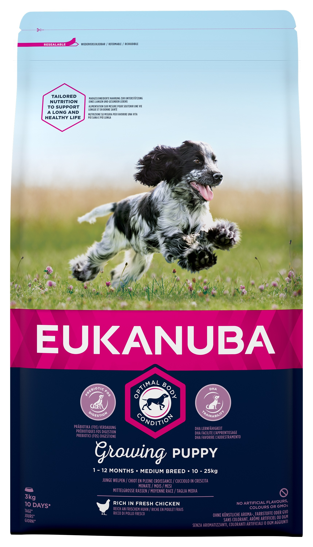 Eukanuba Puppy Chicken Medium Breed - за кучета средни породи 10-25 кг., и възраст от 1 до 12 месеца 3 кг.