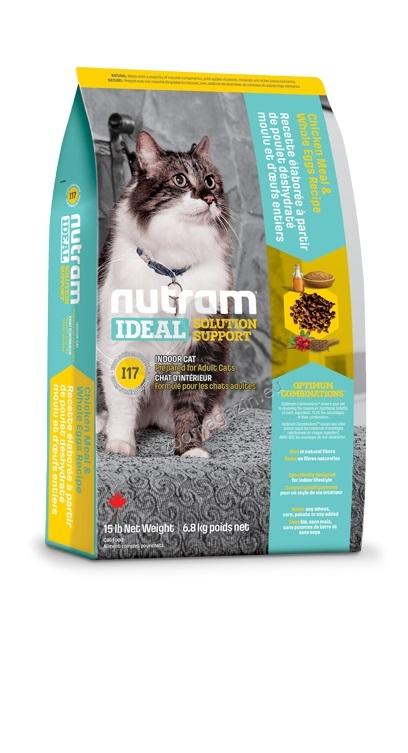 I17 Nutram Ideal Solution Support Indoor - за капризни котки, живеещи в затворени помещения от 1 до 10 години, рецепта с пиле, овес и цели яица 1.8 кг.