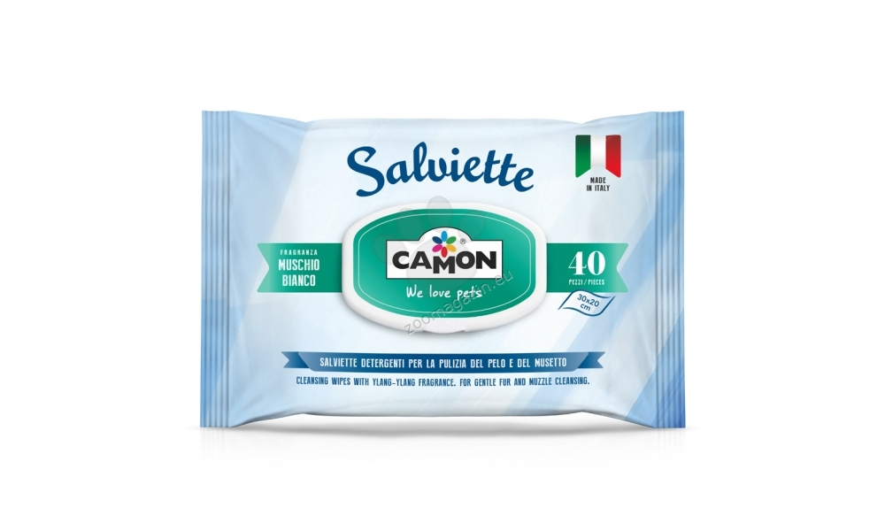 Camon Cleaning Wipes White Musk - υγρά μαντηλάκια καθαρισμού με λευκό μόσχο 40 τεμάχια