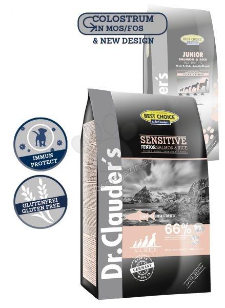 Dr. Clauder Super Premium Sensitive Junior Salmon & Rice - със сьомга и ориз, за чувствителни подрастващи кучета от 2 до 12 месеца 12.5 кг.