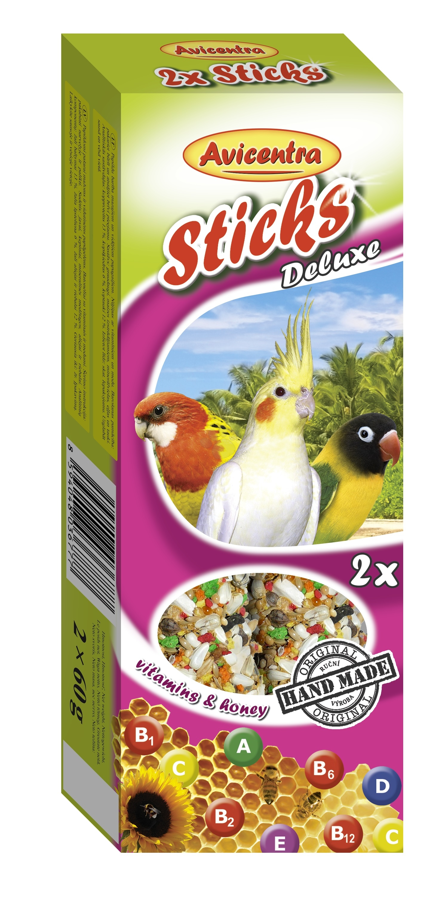 Avicentra Sticks deluxe with vitamins & honey for big parakeets - крекер с мед и витамини 2 броя 120 гр.