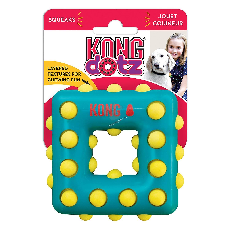 Kong Dotz Square L - здрава иновативна играчка за висока устна хигиена, за кучета над 15 кг.
