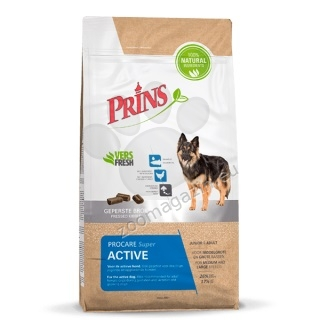 Prins ProCare Super Active - препоръчва се за активни кучета от средни и големи породи, подходяща е и за женски кучета по време на бременността и лактацията 3 кг.