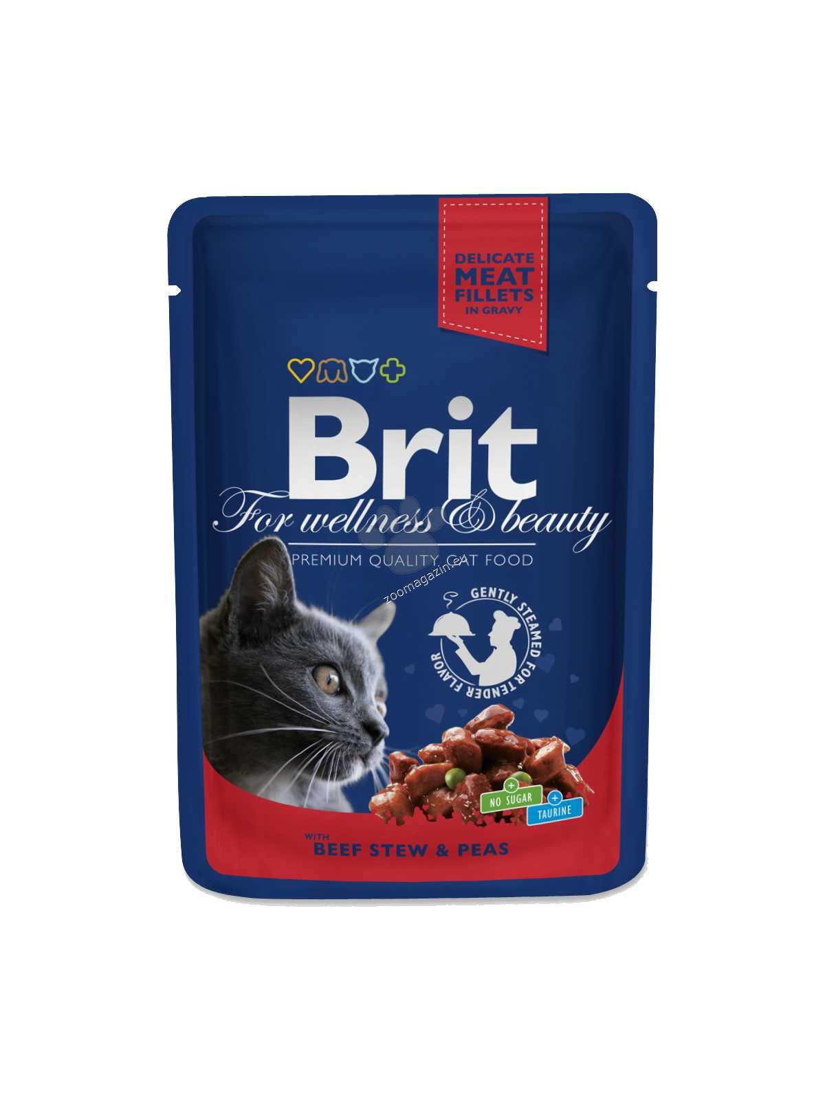 Brit Premium Cat Pouches with Beef Stew & Peas - с говеждо месо и грах 100 гр.