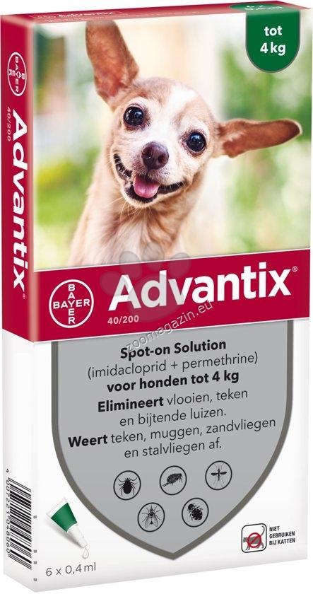 Bayer Advantix Spot On-за кучета до 4 кг./кутия с четири броя пипети/