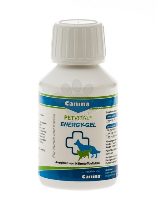 Canina Petvital Energy Gel - за бързa компенсация на хранителни дефицити  в резултат на заболяване, паразити, след операция 100 мл.