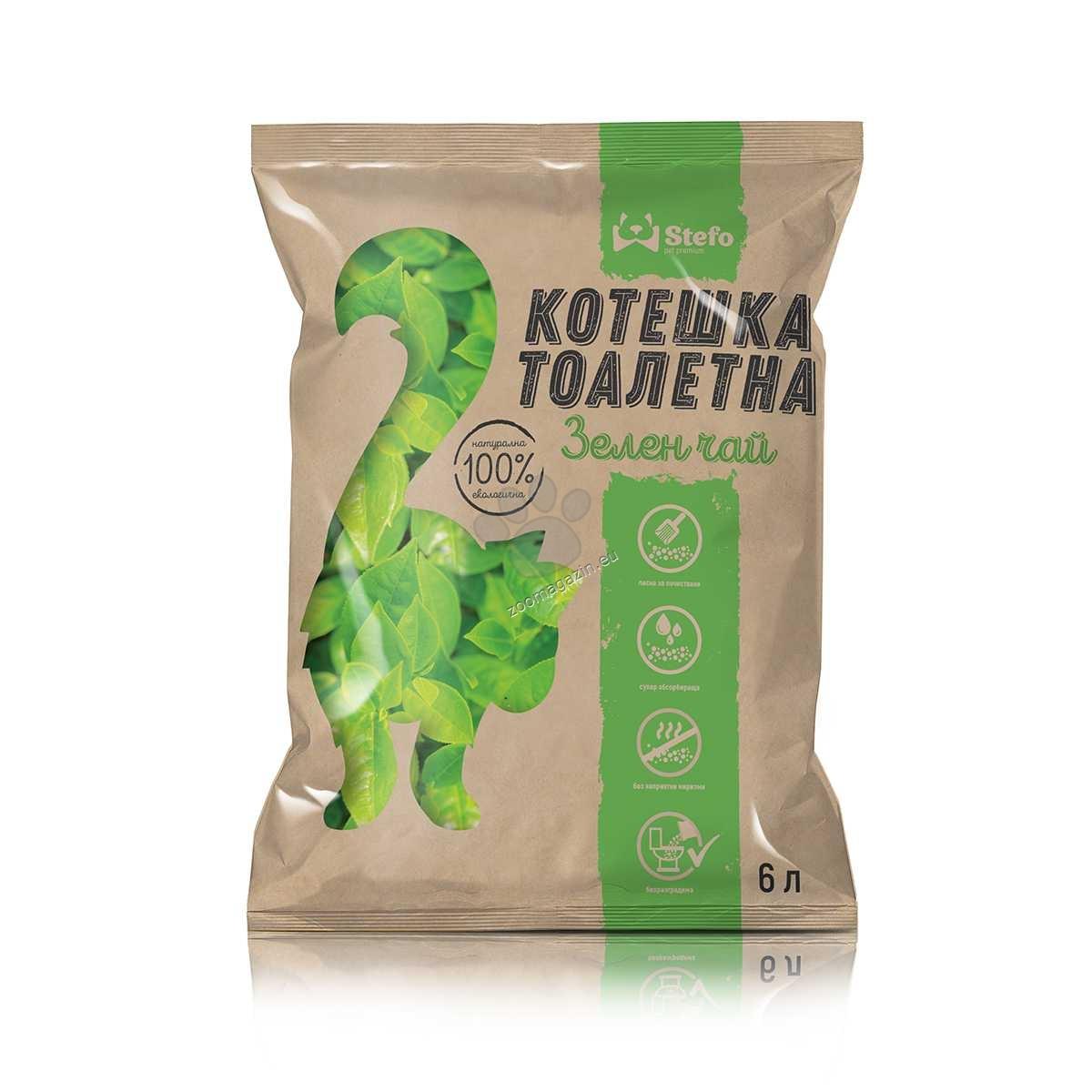 Stefo Green Tea - екологична котешка тоалетна от соя 6 литра / аромат зелен чай /