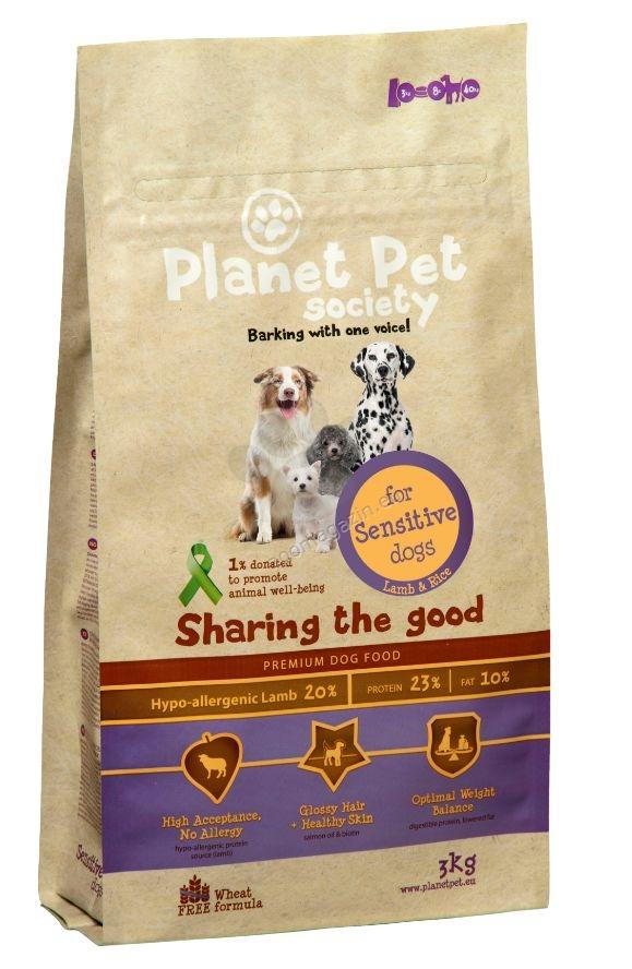 ТОП ОФЕРТА Planet Pet Society Sensitive Dog - пълноценна храна с агнешко месо за кучета, склонни към алергия и чувствителна храносмилателна система, 15 кг. + 2 кг. ГРАТИС