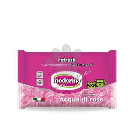 Inodorina Refresh Aqua Di Rose - мокри кърпички розова вода 40 бр.