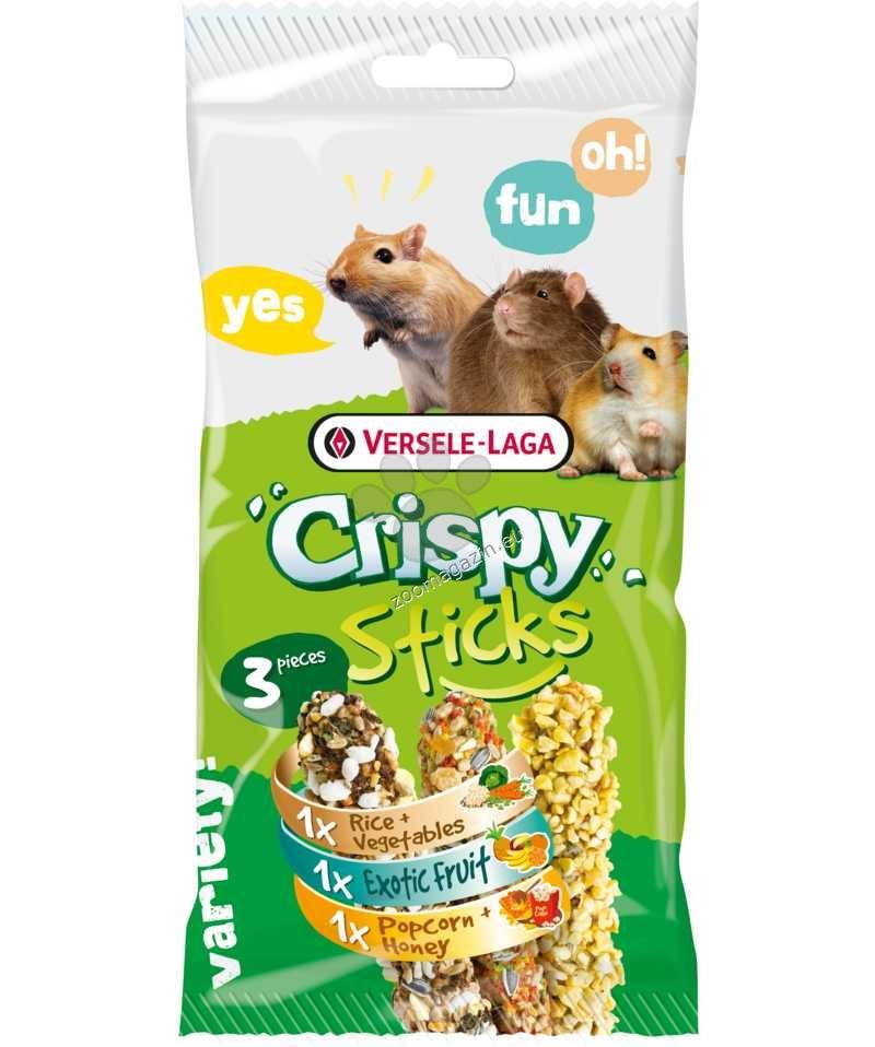 Versele Laga - Crispy Sticks Triple Variety Pack Omnivores - 3 крекера с различен вкус / ориз и зеленчуци, екзотични плодове, пуканки и мед / - 3 x 55 гр.