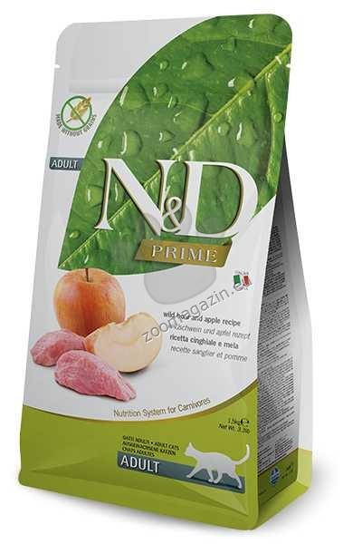 N&D Prime Adult - пълноценна храна с месо от глиган и ябълки, за котки над 12 месеца 1.5 кг.
