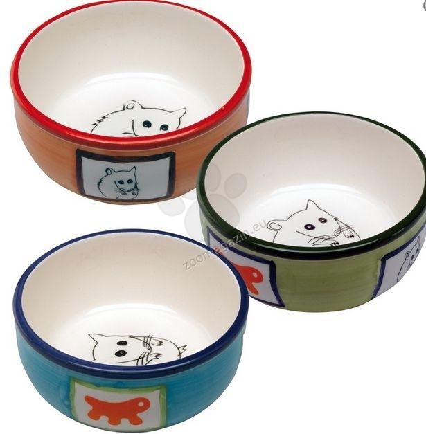 Ferplast - bowl pa1088- керамична купичка за малки животни / оранжева, зелена, синя / Ø 10.2 / 3.7 cm - 0.18 L