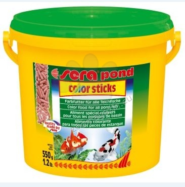 Sera - Color Sticks - подобрява оцветяването на всички златни и студеноводни рибив аквариума или езерцето 3000 мл.