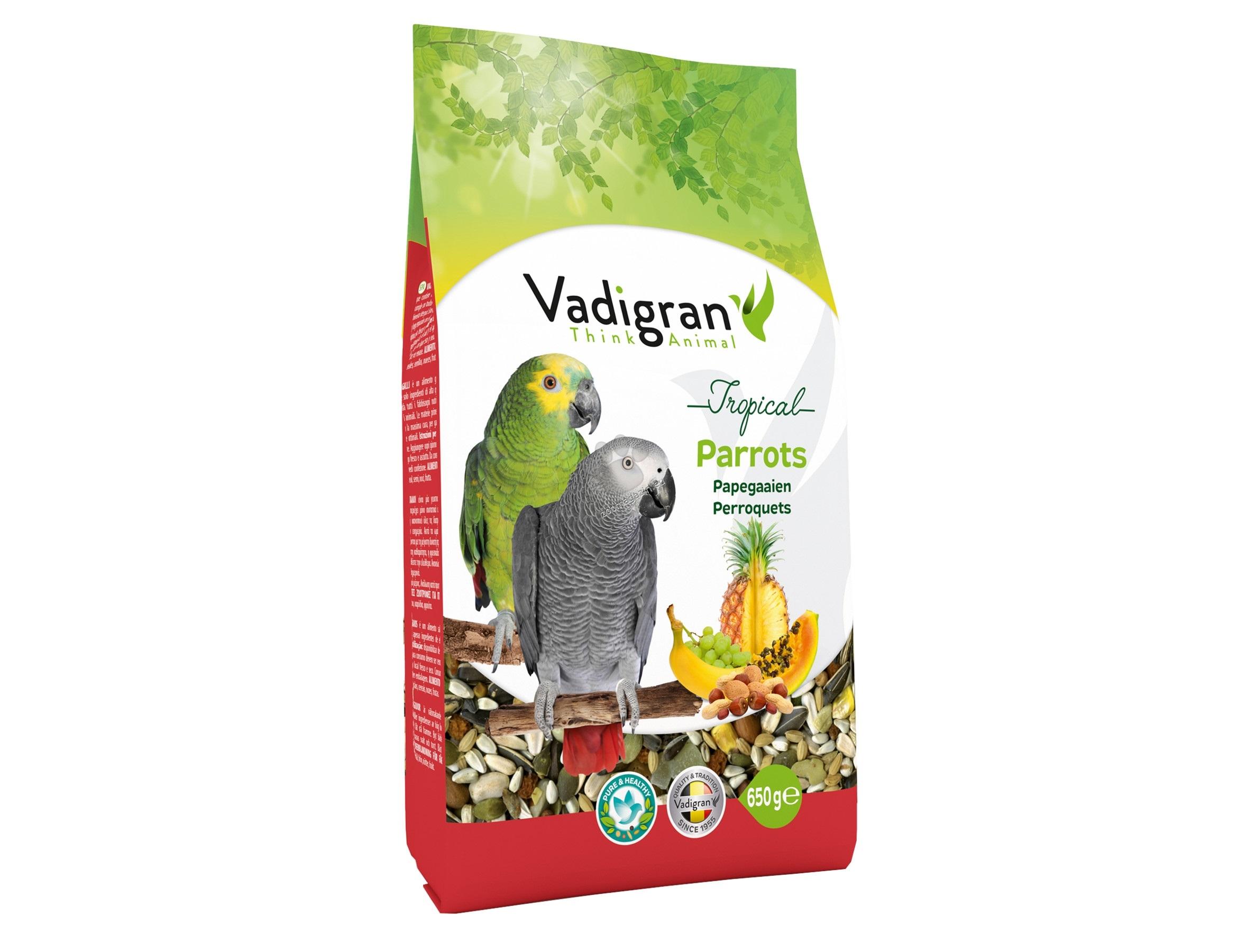 Vadigran - Tropical Parrot - пълноценна храна за големи папагали 650 гр.