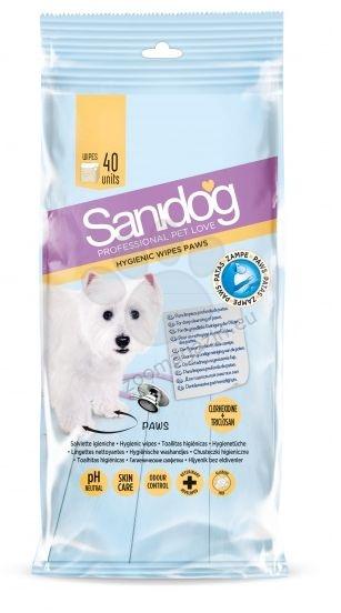 Sanidog Healthy Paws Wipes - мокри кърпички с хлорхексидин, за почистване на лапите след разходка 40 броя