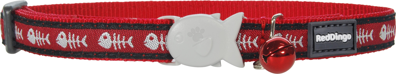 Red Dingo - Cat Collar Fish Bone Red - котешки нашийник, 12 мм х 20-32 см