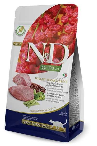 N&D Quinoa Weight Management Lamb Broccoli – пълноценна храна с киноа за котки над една година, за контрол на теглото с агнешко, броколи и аспержи 1.5 кг. + ПОДАРЪК: 3 броя консерва N&D Cat